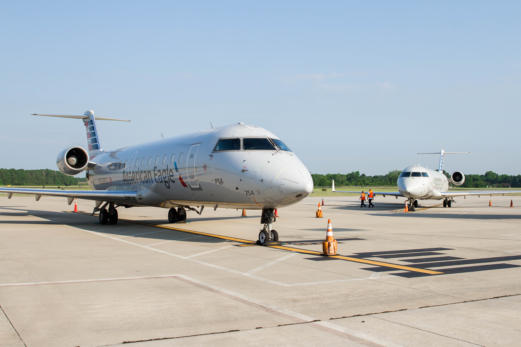 2 American Airlines aircrafts on runway